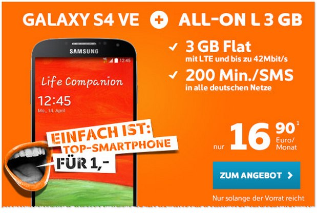 Simyo All-on L 3 GB + Samsung Galaxy S4 für 16,90 €