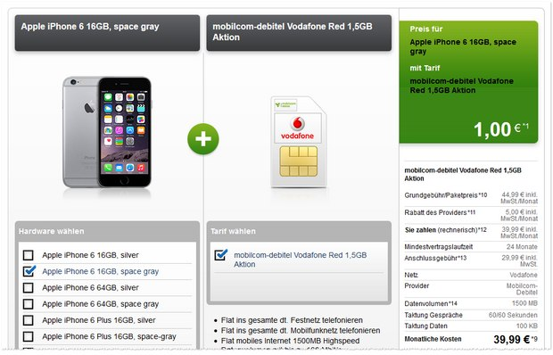 Vodafone Red 1,5 GB + iPhone 6 bei Modeo