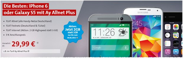 Ay Yildiz Ay Allnet Plus mit 2 GB Highspeed bis 30.6.2015