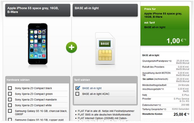 BASE all-in light + iPhone 5S bei Modeo