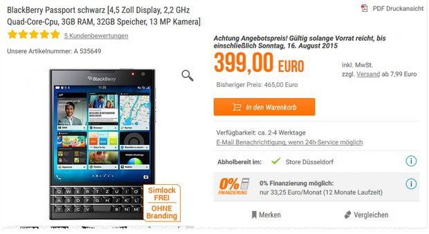 BlackBerry Passport bei Notebooksbilliger.de 399 € + 7,99 € Versand