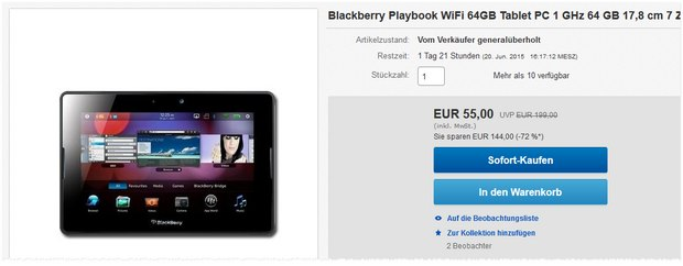 BlackBerry PlayBook 64 GB als B-Ware für 55 €