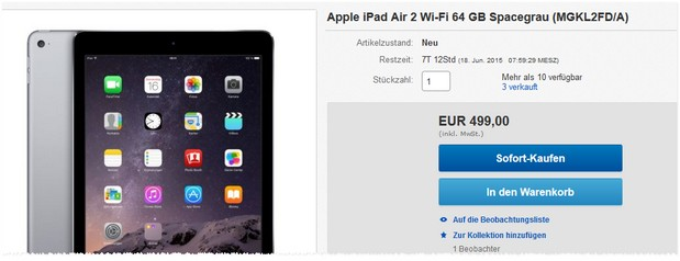 iPad Air 2 (64 GB) WiFi für 499 €