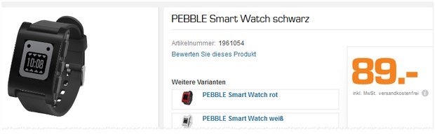 Pebble Smartwatch bei Saturn für 89 €