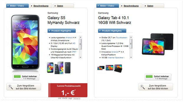 Samsung Galaxy S5 + Galaxy Tab 4 + o2 Blue All-in M bei Logitel mit 2 GB LTE