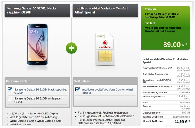 Samsung Galaxy S6 im Tablet-Deal + Vodafone comfort Allnet bei Modeo