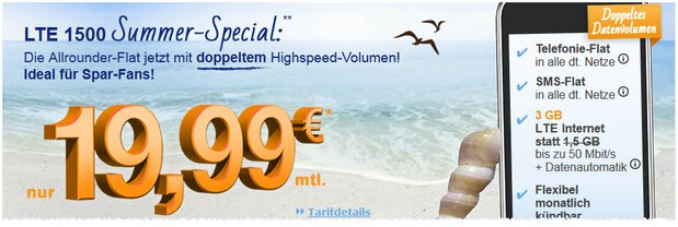 simply LTE 1500 Summer-Special mit 3 GB LTE