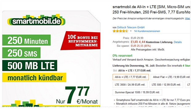Smartmobil All-in + LTE am Prime Day
