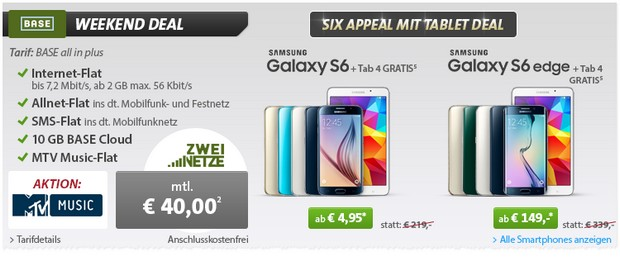 Sparhandy Weekend Deal mit BASE All-in Plus + Samsung Galaxy S6 + Galaxy Tab 4 gratis!