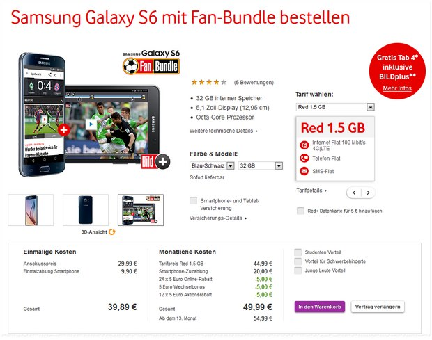Vodafone-Aktion: Samsung Galaxy S6 / S6 Edge für 9,90 € mit Vodafone-Red-Tarif + Fan-Bundle