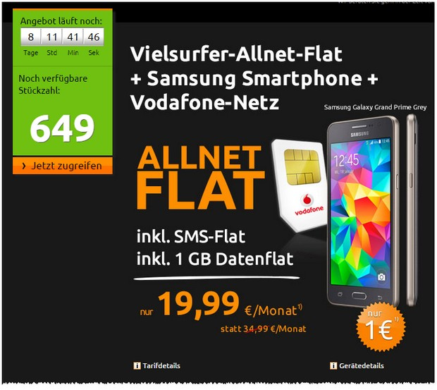 Vodafone real Allnet + Samsung Galaxy Grand Prime bei Crash-Tarife.de für 19,99 €