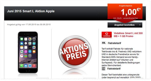 Vodafone Smart L + 1 GB Promo mit iPhone 6 bei 24mobile