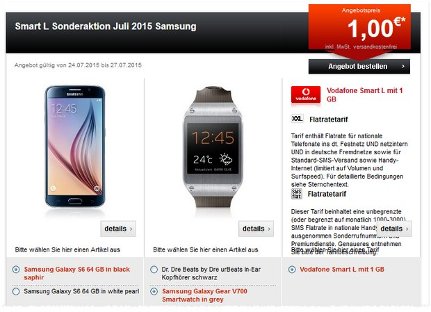 Vodafone Smart L + Samsung Galaxy S6 (64 GB) + Smartwatch bei 24mobile