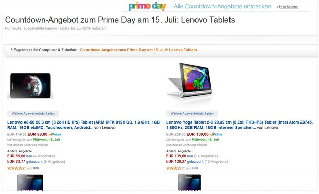 Amazon Blitzangebote am Prime Day Countdown 14.7.2015
