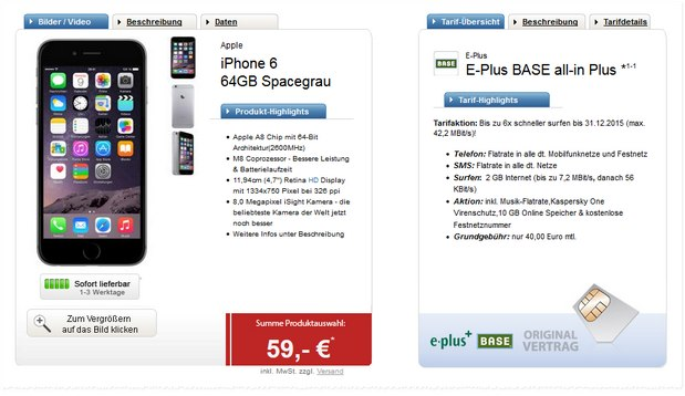 BASE All-in Plus mit iPhone 6 (64 GB) für 59 € bei Logitel