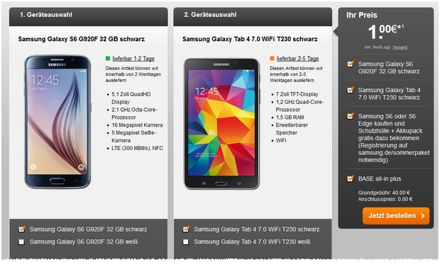 BASE all-in plus mit Samsung Galaxy S6 + Galaxy Tab 4 gratis bei Handyflash für 1 € Zuzahlung