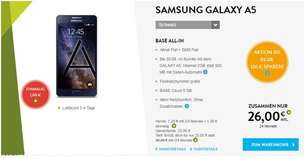 BASE All-in + Samsung Galaxy A5 - Aktion bis 3.8.2015 für 26 € mit 2 GB Internet
