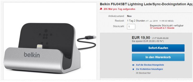 Belkin Lightning Ladestation für iPhone oder iPad