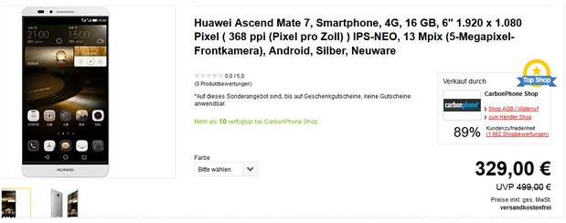 Huawei Ascend Mate 7 ohne Vertrag für 329 € bei Allyouneed