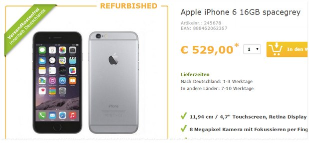 iPhone 6 refurbished für 529 € bei Favorio