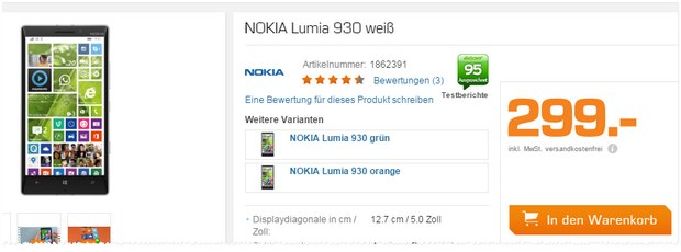 Nokia Lumia 930 im Saturn Late Night Shopping für 299 €