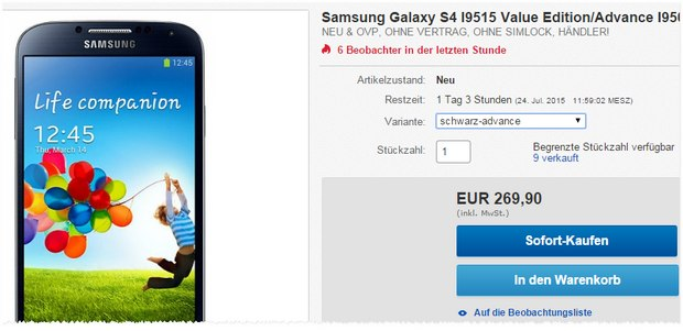 Samsung Galaxy S4 Advance unter 270 €