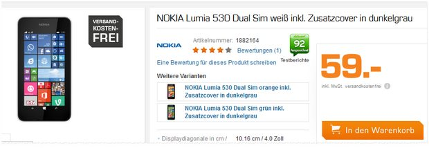 Saturn Montagsangebot am 6.7.2015 mit Nokia Lumia 530