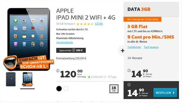 Simyo Data 3 GB + iPad mini 2 WiFi+4G für 14,90 €