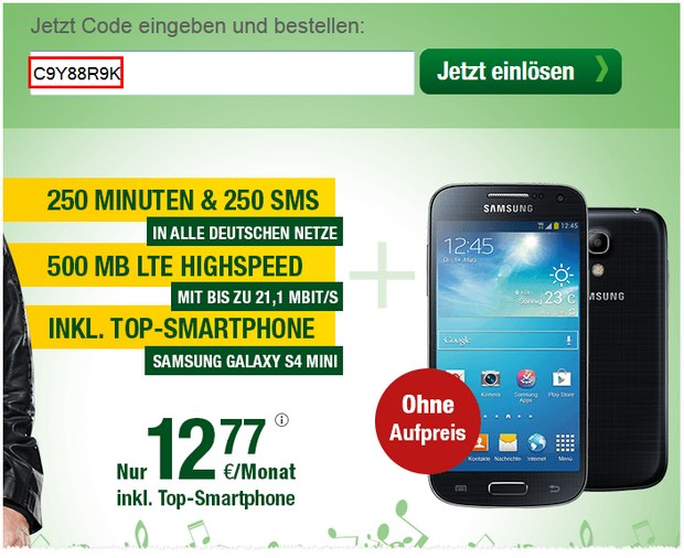 Smartmobil All-in + LTE + Samsung Galaxy S4 mini für 0 €
