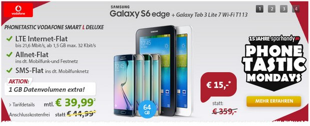 Sparhandy Phonetastic Monday ab 27.7.2015 mit Vodafone Smart L + Samsung Galaxy S6 Edge