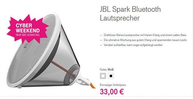 Telekom Cyber Weekend Deal: JBL Spark Bluetooth-Lautsprecher für 33 €