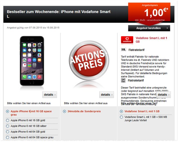 Vodafone Smart L (1 GB LTE) + Apple iPhone 6 (16 GB) für 1 € bei 24mobile