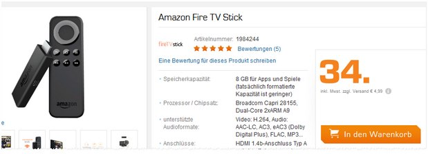 Amazon Fire-TV-Stick für 34 € bei Saturn