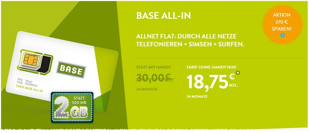 BASE Allnet-Flat-Aktion: BASE all-in + SMS-Flat + 2 GB Internet nur 18,75 € pro Monat statt 30 €