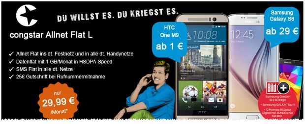 Congstar Allnet-Flat L + Samsung Galaxy S6 + Fan-Bundle bei Talkthisway