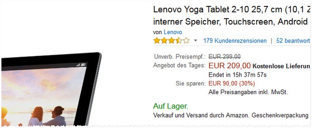 Lenovo Yoga-Tablet 2-10 bei Amazon für 209 €