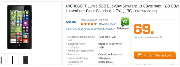 Microsoft Lumia 532 (Dual-SIM) ab 19.8.2015 für 69 € im Saturn Late Night Shopping
