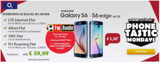 Sparhandy Phonetastic Mondays: O2 Blue All-in L + Samsung Galaxy S6 Edge (64 GB) für 1,50 € Zuzahlung + Fan-Bundle