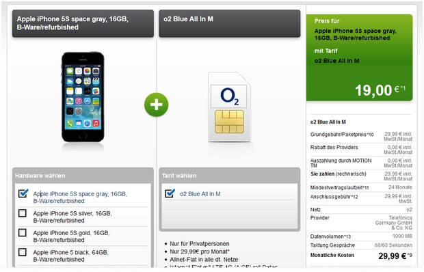 O2 Blue All-in M + iPhone 5S (B-Ware) für 19 € Anzahlung bei Modeo