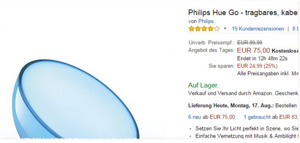 Philips Hue Go als Amazon-Deal für 75 €