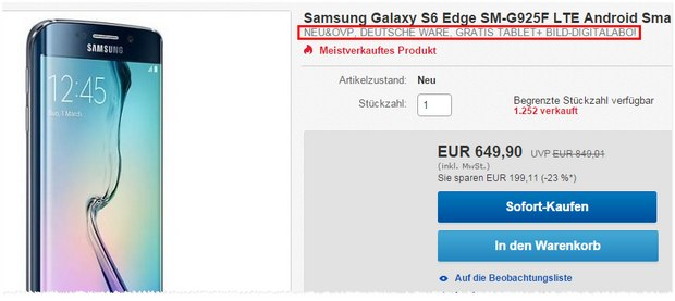 Samsung Galaxy S6 Edge + Samsung Fan-Bundle für 649 €