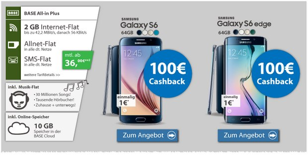 BASE all-in plus + Samsung Galaxy S6 Edge (64 GB) für 1 € + 100 € Cashback