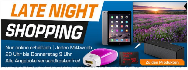 Saturn Late Night Shopping am 26.8.2015 mit iPad Air 2 für 499 €