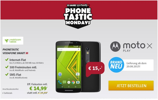 Sparhandy Phonetastic Mondays ab 10.8.2015 mit Moto X Play für 15 €