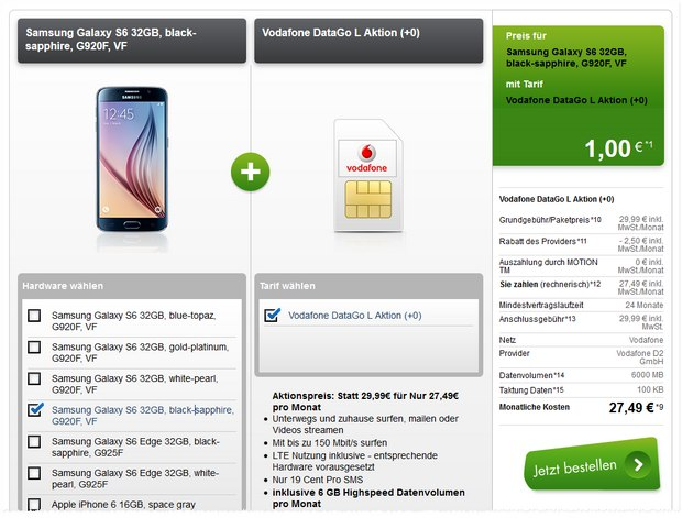 6 GB Vodafone-Datentarif Data Go L für 27,49 € + Samsung Galaxy S6 + Fan-Bundle für 1 € Zuzahlung via Modeo