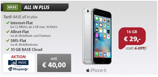 BASE All-in Plus mit iPhone 6 (16 GB) für 29 € Zuzahlung bei sparhandy.de