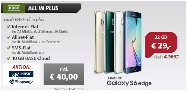 BASE All-in Plus + Samsung Galaxy S6 Edge bei sparhandy für 29 € Zuzahlung