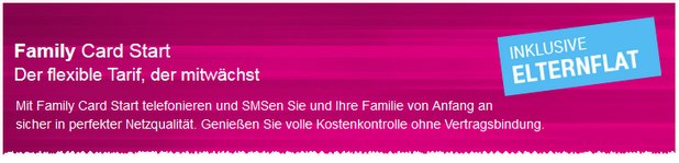 Magenta Mobil Start Prepaid-Tarif als Family Card Start