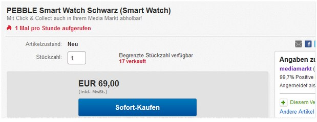 Pebble Smartwatch für 69 € bei Media Markt