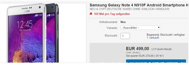 samsung galaxy note 4 ohne vertrag 239 groupon. Black Bedroom Furniture Sets. Home Design Ideas